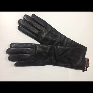 Thinsulate Long Black Leather Glove Tech Touch